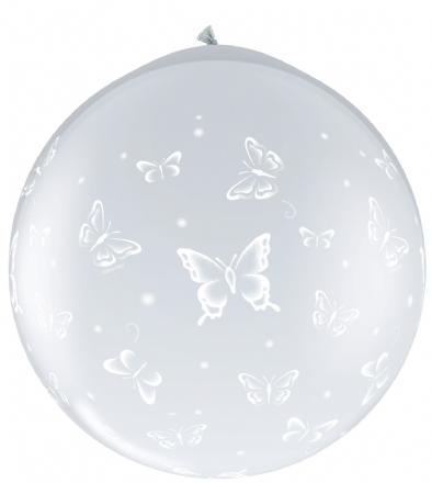 3FT Diamond Clear  Butterfly Latex Balloon Neck Up x 2